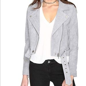 Cloud Grey Suede Moto Jacket by Blank NYC
